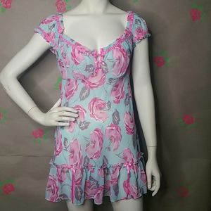 Betsey Johnson Blue Floral Sheer Baby Doll Size M